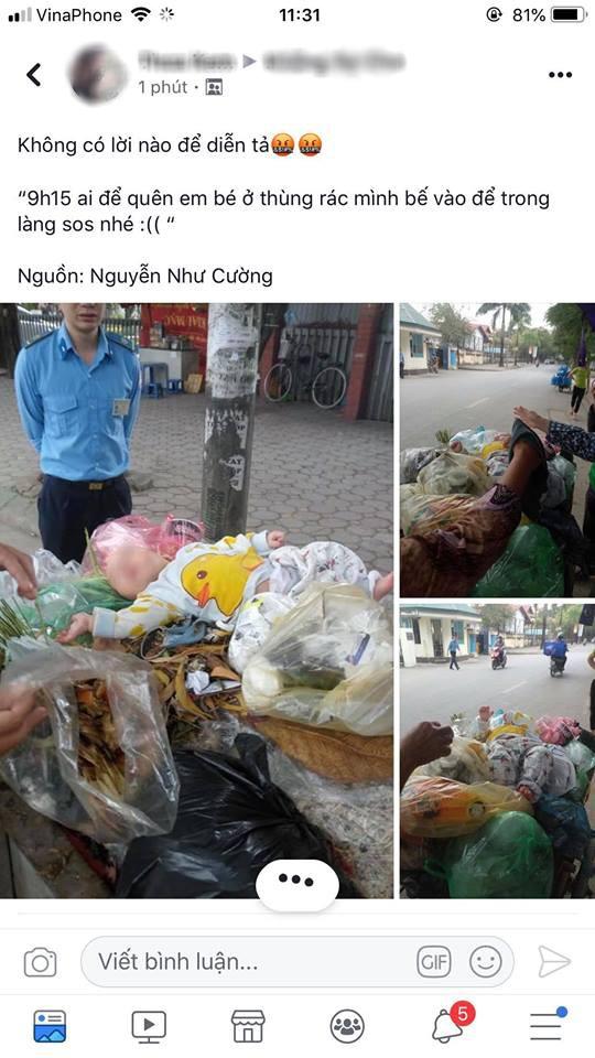 Hà Nội: Bé trai 4 tháng tuổi bị người thân bỏ lại trong thùng rác giữa phố 1