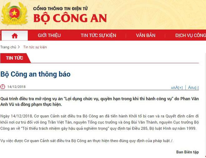 Khởi tố 2 cựu Thứ trưởng Bộ Công an Trần Việt Tân và Bùi Văn Thành 2