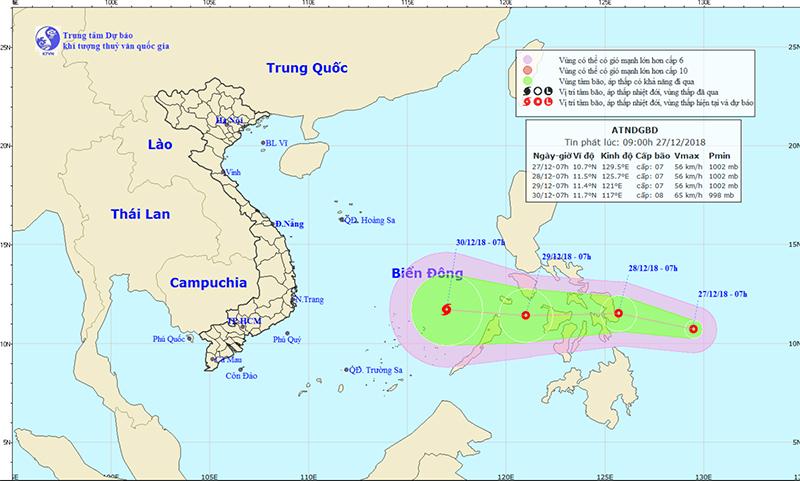 Áp thấp gần biển Đông có khả năng mạnh lên thành bão 1