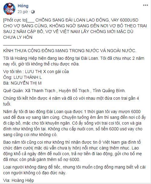 Chồng đi Đài Loan lao động, vay 6.000 USD để đưa vợ sang cùng, ai ngờ nhận về cái kết đắng cay 1