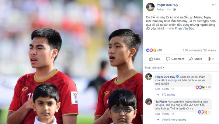 Tiền vệ Đức Huy bị mất trí nhớ tạm thời sau trận đấu với Iran 1