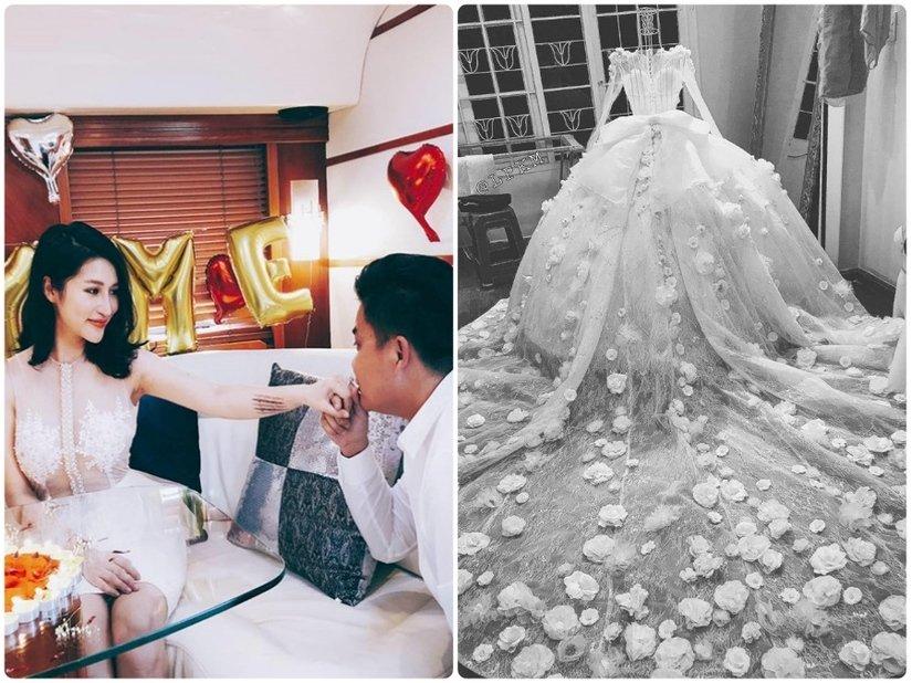 Hot girl đời đầu Vân Navy tự thiết kế váy cưới cho chính mình, đính 999 đóa hồng 1