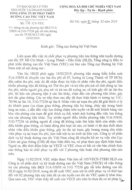 Hình ảnh Bộ GTVT yêu cầu VEC rút quyết định từ chối phục vụ vĩnh viễn 2  ô tô vi phạm số 2