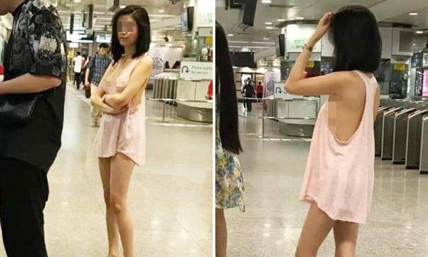 Mặc váy ngủ không nội y đi rút tiền, cô gái nổi như cồn trên MXH 1
