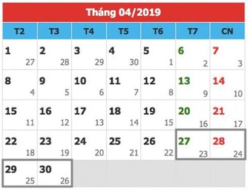 Lịch nghỉ lễ chính thức Giỗ tổ Hùng Vương, 30/4 và 1/5 của người lao động 2