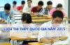 Lịch thi THPT quốc gia năm 2015 chính thức của Bộ GD -ĐT