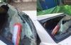 Kính vỡ vụn vì bình cứu hỏa mini nổ trên ô tô