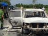 Ôtô chở giám đốc bị cướp phóng hỏa giữa đường, 3 người bỏng nặng