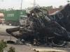 Va chạm kinh hoàng trong đêm, 2 xe container bị thiêu rụi, ít nhất 2 người tử vong