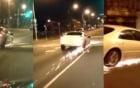 Xe ô tô mất bánh vẫn chạy bằng vành toé lửa trên đường phố