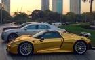 Chiêm ngưỡng siêu xe Porsche 918 Spyder mạ vàng đầu tiên trên thế giới