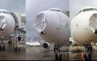 Máy bay Brazil bị móp đầu vì sét và mưa đá