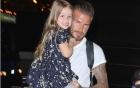 Harper cười đáng yêu được bố Beckham ẵm trên tay