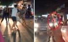 Video: Phản cảm chồng giật tóc, đánh vợ túi bụi giữa phố