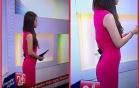 BTV Trúc Mai dùng kẹp giấy để kẹp váy khi dẫn Chuyển động 24h