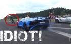 May mắn thoát chết khi tạt đầu Lamborghini Aventador