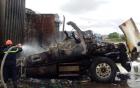 Tài xế liều mình cứu 4 xe container thoát khỏi biển lửa