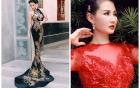Hoa hậu Quý bà Sương Đặng gợi cảm với váy dạ hội họa tiết rồng