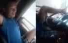 Thót tim tài xế lái xe tải bằng chân