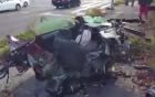 Ô tô phóng 145km/h nát bét sau vụ tai nạn, tài xế sống sót thần kỳ