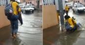 Clip: Chàng trai ga-lăng cõng gái xinh qua đường ngập nước và cái kết ê chề