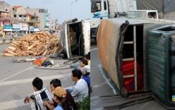 Xe tải lật nhào sau khi lao lên dải phân cách