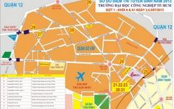 Bản đồ chỉ dẫn đường đến điểm thi đại học