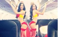 Ngọc Trinh mặc bikini uốn éo làm tiếp viên hàng không