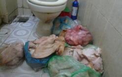Choáng váng chế biến nem tai, giò tai trong nhà vệ sinh