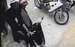 Hai thanh niên trộm xe máy của cô gái nhanh như chớp