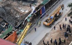 Đường sắt trên cao Cát Linh - Hà Đông sập giàn giáo, đè bẹp taxi