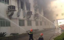 Cháy lớn ở Quế Võ, Bắc Ninh, khói đen bao trùm khu công nghiệp