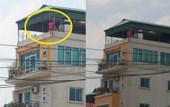 Hà Nội: Thót tim, cô gái trèo ra lan can tầng 6
