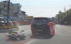 Cô gái sang đường bất cẩn, đâm xe máy vào