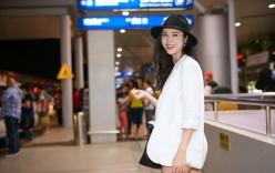 Vũ Ngọc Anh gợi cảm với mốt giấu quần ở sân bay