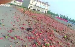 Video: Hàng chục tấn dưa hấu đổ đầy đường do xe tải mất lái