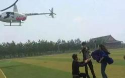 Nam sinh chơi ngông thuê trực thăng cầu hôn bạn gái trên sân trường