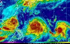 Hình ảnh ba cơn bão đang dồn dập đổ bộ vào châu Á