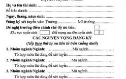Mẫu phiếu đăng ký xét tuyển ĐH do Bộ GD-ĐT công bố