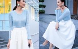 Thanh Hằng thanh lịch với phong cách thời trang tối giản