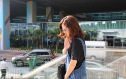 Triệu Vy trong trang phục đơn giản xuất hiện tại sân bay