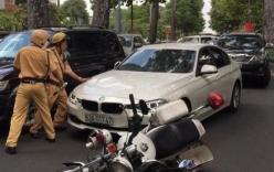 Tài xế BMW tông xe CSGT để bỏ chạy sau khi gây tai nạn