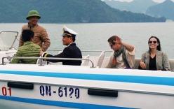 Vợ chồng Angelina Jolie chèo thuyền thăm vịnh Hạ Long