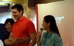 """Phản ứng bất ngờ của """"Mỹ nhân đẹp nhất Philippines"""" khi chồng bị fan nữ ôm"""