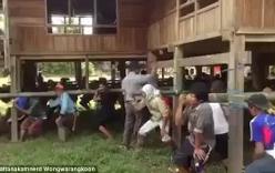 Video người dân Thái Lan dùng sức người di chuyển nguyên cả căn nhà