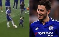 Video: Eden Hazard lừa bóng khiến con trai 3 tuổi ngã lăn trên sân