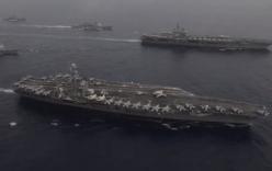Video: Nhóm chiến đấu tàu sân bay Mỹ dàn hàng gần Biển Đông