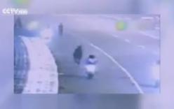 Người điều khiển xe máy ngã dúi dụi vì bị ngựa