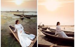 Hoa hậu Thu Hoài diện áo dài trắng đẹp dịu dàng, mỏng manh