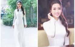 Ngắm vẻ đẹp tinh khôi của Hoa hậu Mỹ Linh trong tà áo dài trắng